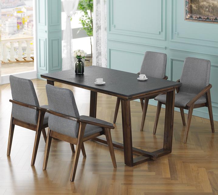 [렌탈]라온 망기움원목 화산석 4인 식탁 세트 (벤치형 / 의자2ea+4인벤치) / 월 37,800원