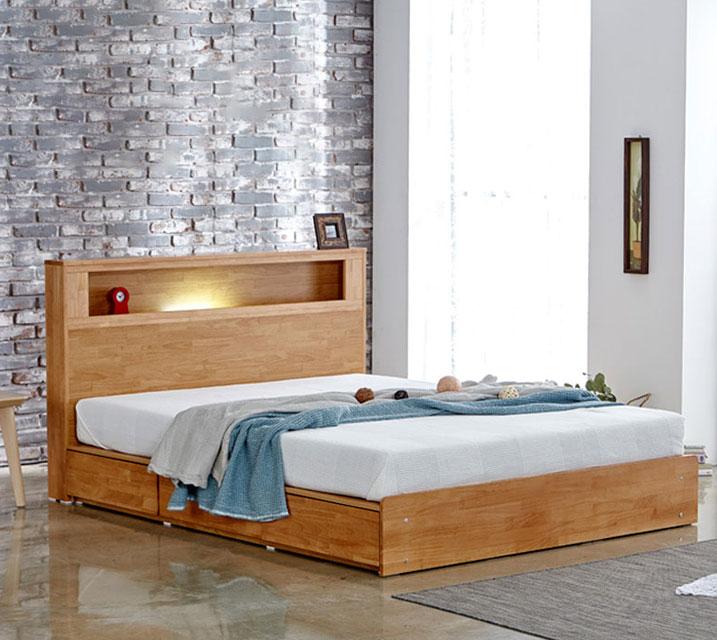 [렌탈] 랄프 LED 원목 수납  침대 프레임 퀸(Q) / 월 29,800원