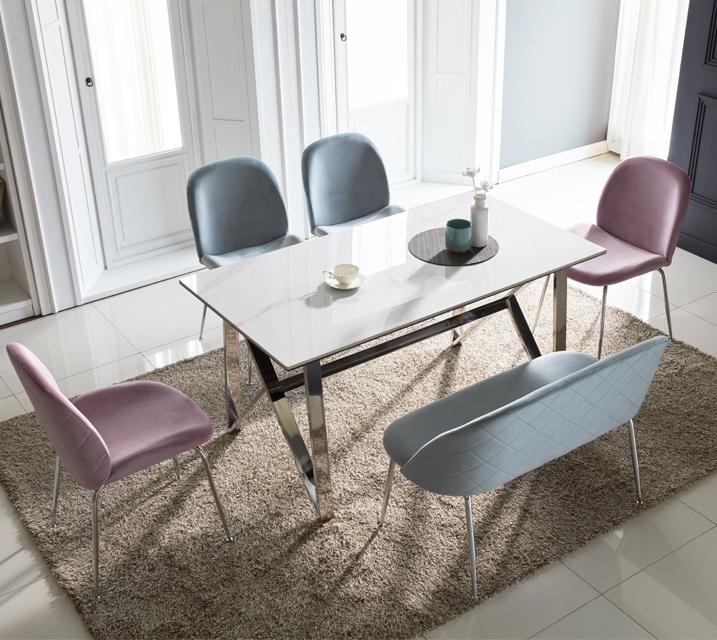 [렌탈] 브롬 세라믹 4인 식탁 세트 (의자형/의자4ea) /월 43,800원 (핑크색의자로출고) ★전화상담시 색상선택★