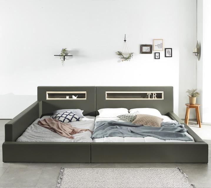 [렌탈] 앨리쉬 LED 패밀리 침대 Q+SS (깔판+매트리스포함포함) / 월55,800원