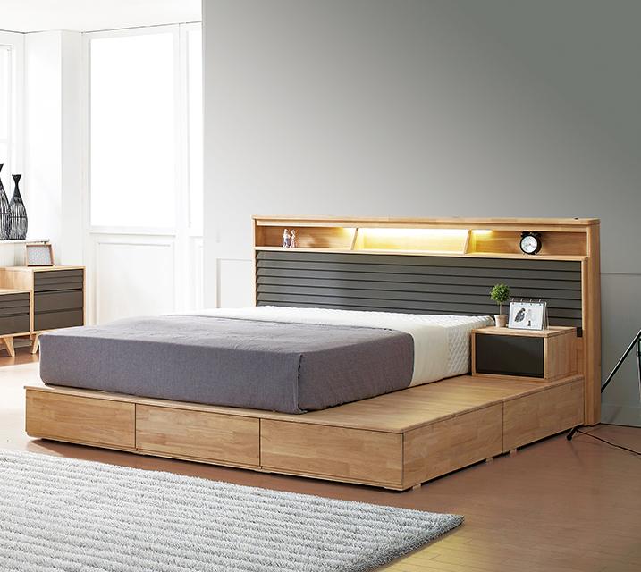 [렌탈] 베릴 고무나무 LED 침대Q 2000 +  협탁 / 월 49,800원