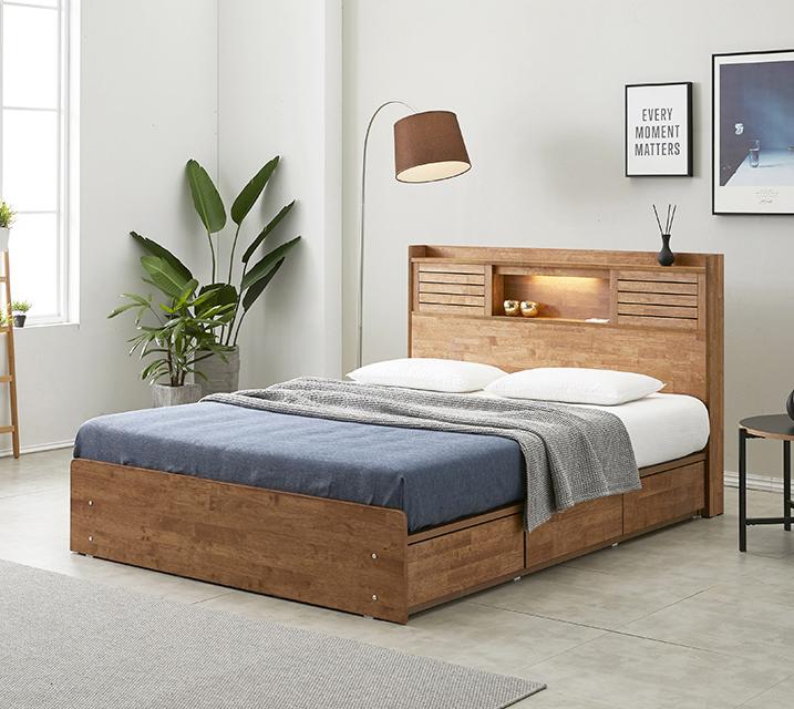 [렌탈] 아가타 고무나무 LED 3단 서랍 침대 퀸 (Q) / 월 23,800원