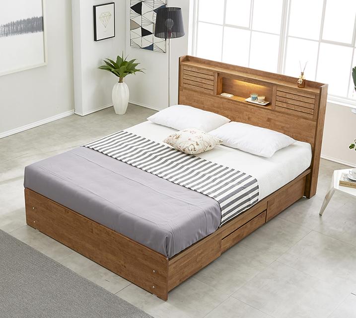 [렌탈] 아가타 고무나무 LED 4단 서랍 침대 퀸 (Q) / 월 23,800원