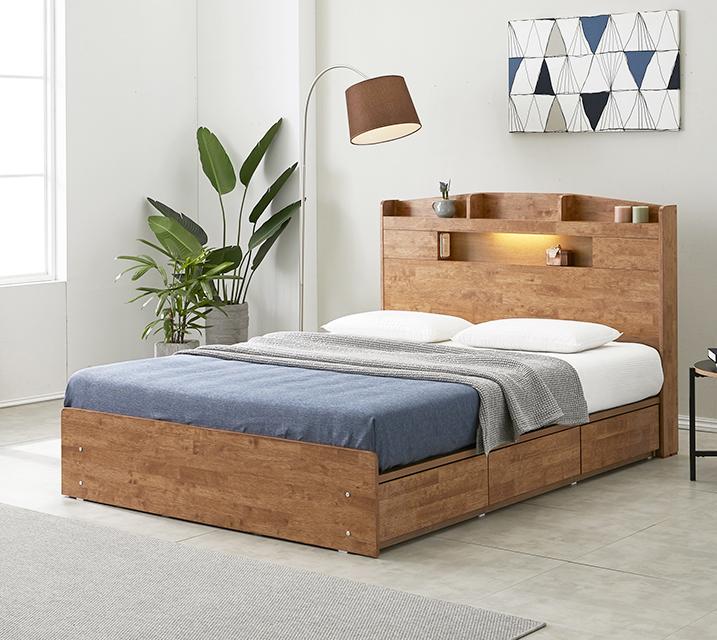 [렌탈] 베스 고무나무 LED 3단 서랍 침대 퀸 (Q) / 월 27,800원