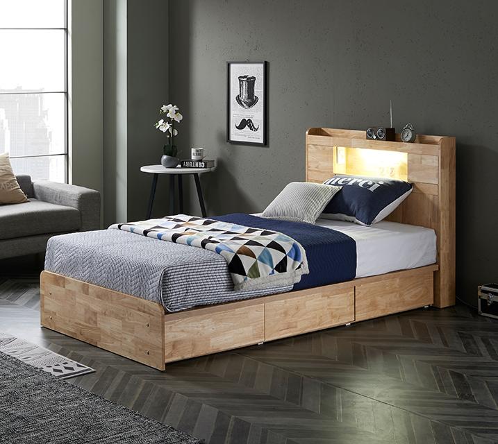 [한정렌탈] 체리 고무나무 LED 3단 서랍 침대 슈퍼싱글 (SS) 침대세트[독립소프트폼 매트리스포함]/ 월 29,800원