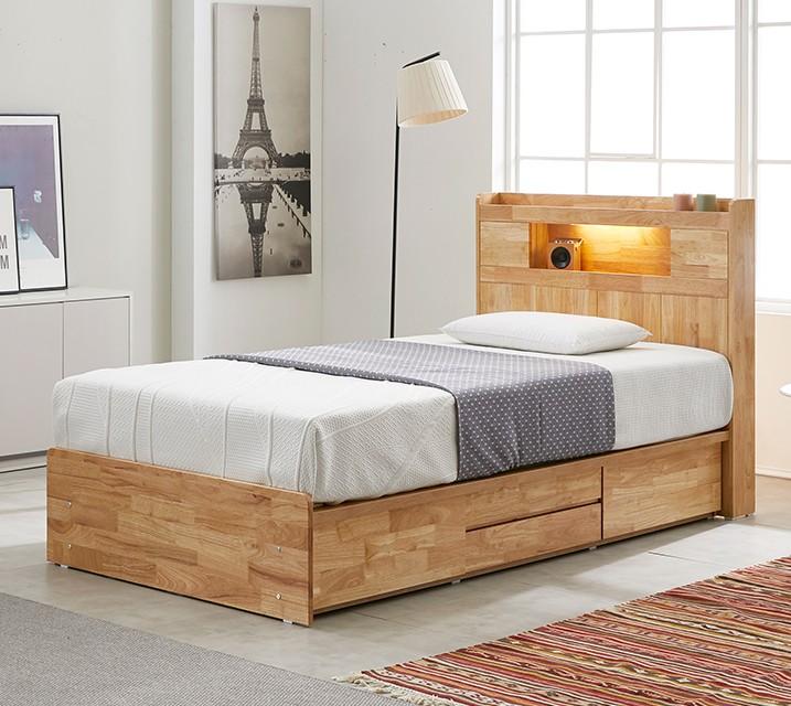 [렌탈] 체리 고무나무 LED 4단 서랍 침대 슈퍼싱글 (SS) / 월 21,800원