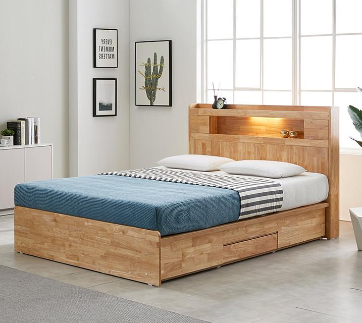 [렌탈] 체리 고무나무 LED 4단 서랍 침대 (Q) / 월 23,800원