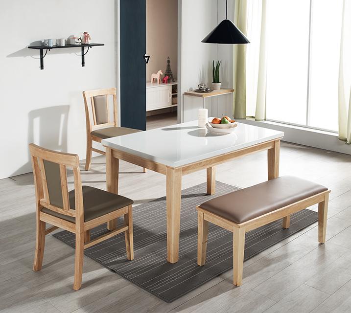 [렌탈] 에이미 천연대리석 4인 식탁 (벤치형 / 의자형2ea+4인벤치) / 월 23,800원