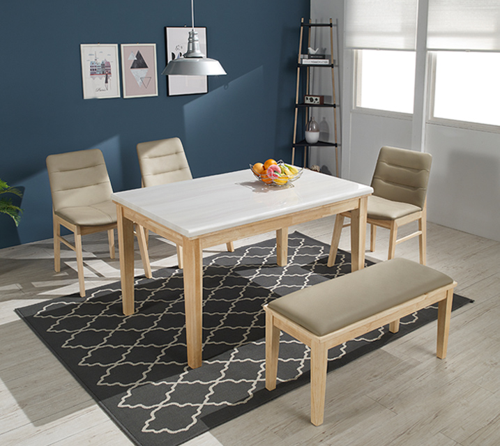 [렌탈] 버니스 천연대리석 4인 식탁 (벤치형 / 의자2ea+4인벤치) / 월 27,800원