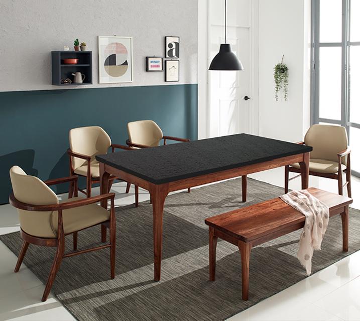 [렌탈] 케이트 천연화산석 6인 식탁 세트 (벤치형 / 의자 4ea + 6인 벤치) / 월 51,800원