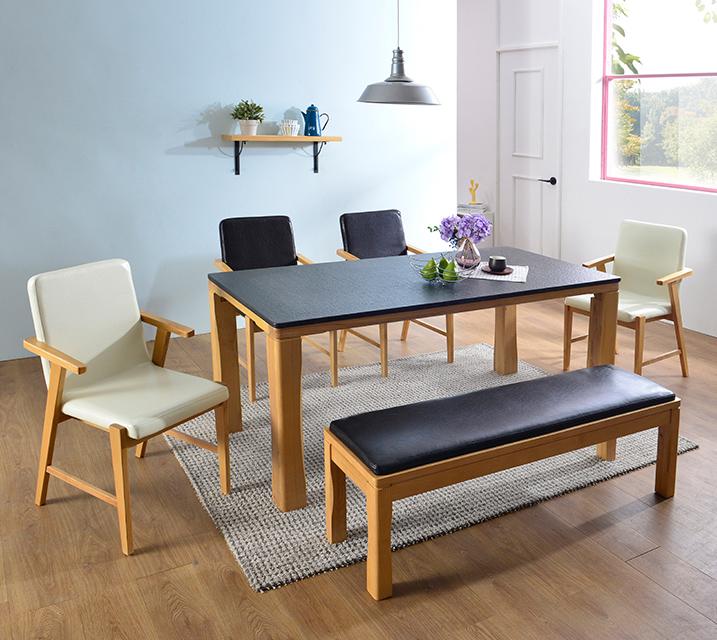 [렌탈] 린다 천연화산석 4인 식탁 세트 (의자형 / 의자 4ea) / 월 49,800원