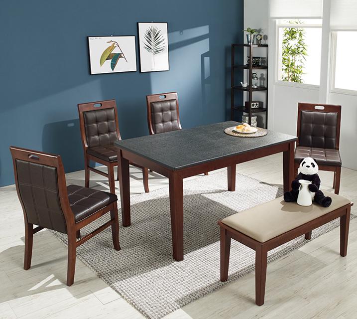 [렌탈] 앤드리 천연화산석 4인 식탁 세트 (벤치형 / 의자 2ea + 4인벤치) / 월 33,800원
