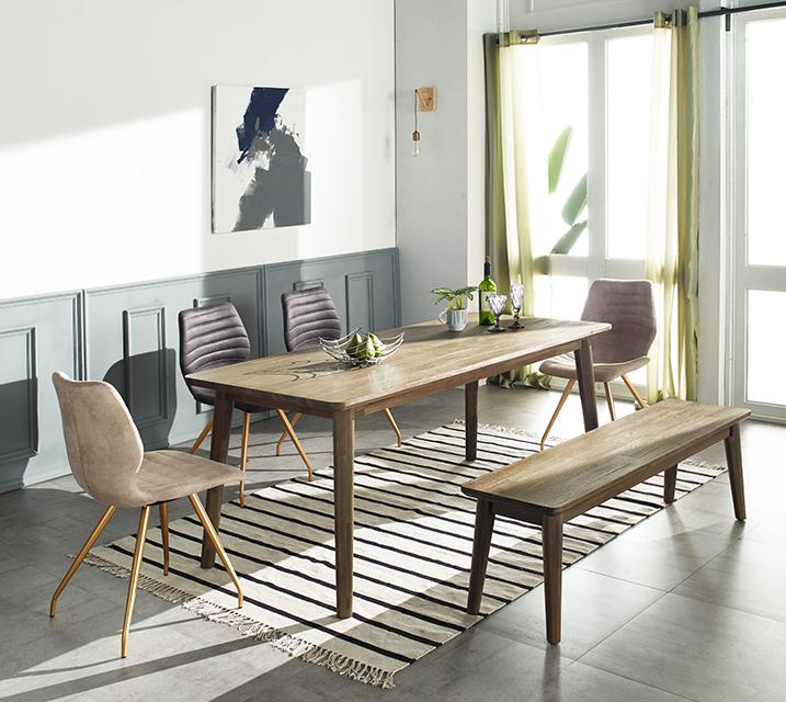 [렌탈]로이드 아카시아원목 4인식탁 세트 (벤치형 / 의자 2ea + 4인벤치) / 월 35,800원