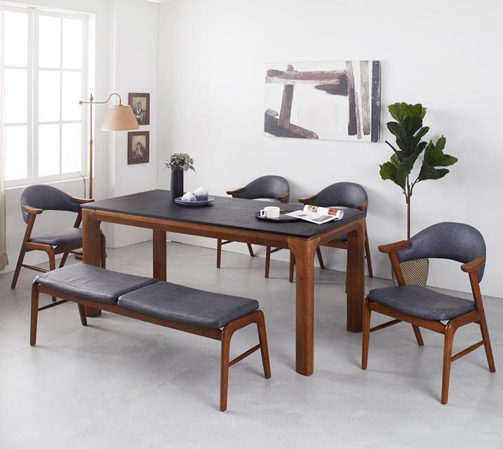 [렌탈]토르 애쉬원목 화산석 6인 식탁 세트 (벤치형 / 의자4ea+6인벤치)  / 월 53,800원