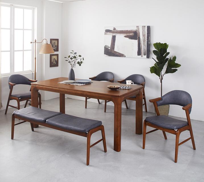 [렌탈]로키 애쉬원목 6인 식탁 세트 (벤치형 / 의자4ea+6인벤치) / 월 47,800원