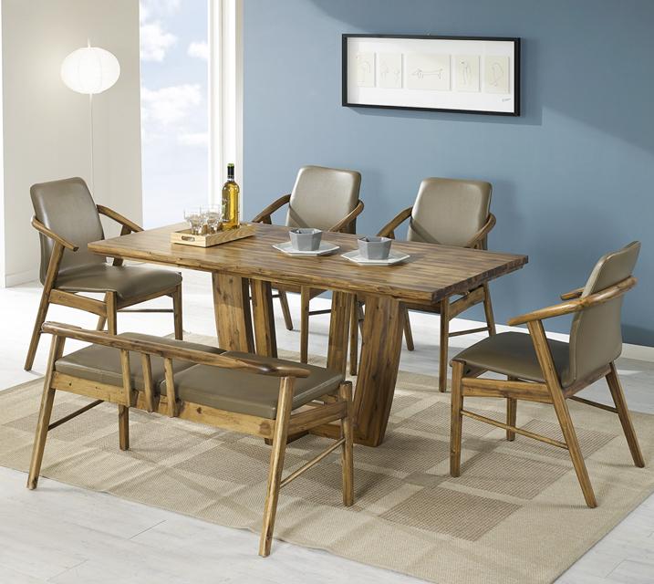 [렌탈]바네사 아카시아 원목 6인 식탁 세트 (의자형 / 의자6ea) / 월 45,800원