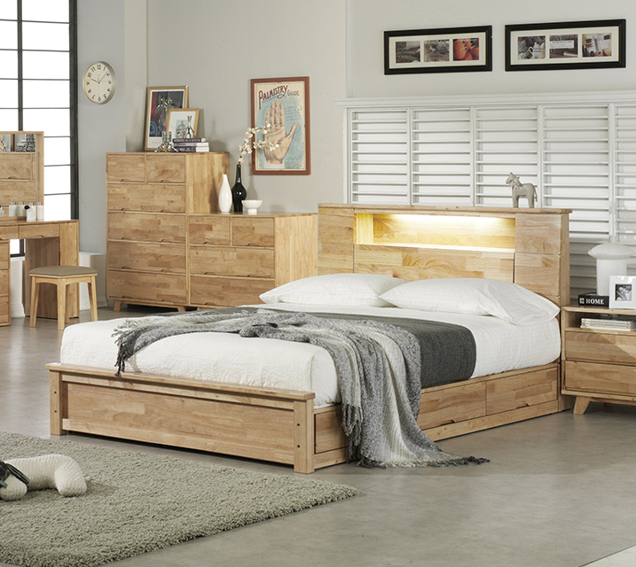 로에 LED 조명 수납형 고무나무 원목 침대 퀸(Q)  [독립 소프트폼 Q 포함] / 월 59,800원