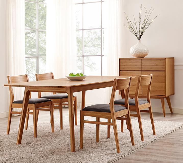 로흘 컬렉션 익스텐션 대나무 4인 엔틱 식탁 세트 [ 테이블 + 의자 4개 ] / 월 171,800원