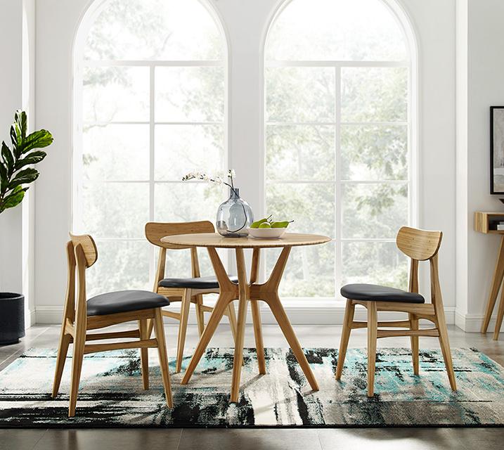 시카 & 카시아 컬렉션 대나무 2인 엔틱 식탁 세트 [ 테이블 + 의자 2개 ] / 월 91,800원