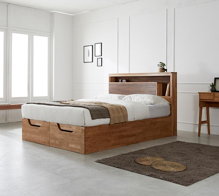 리썸 고무나무 크로코 리프트업 침대(Q) + 독립소프트폼 매트리스 포함 (스탬) / 월 53,800원