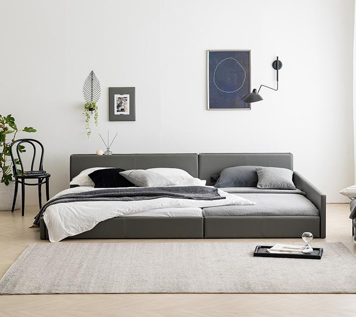 [렌탈] 데이지 패밀리 침대 [그레이] SS+SS+PVC 깔판 / 월 23,800원