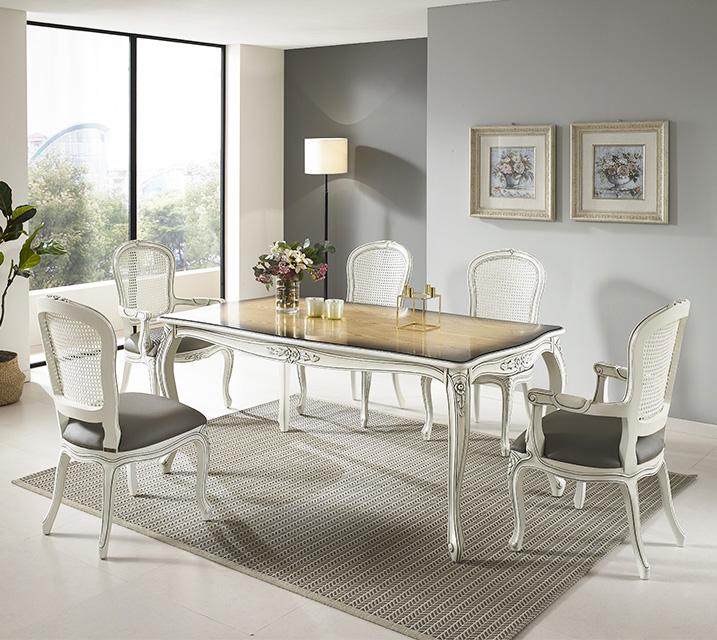 [렌탈] 칼리아 엔틱 6인 식탁 세트 (팔걸이형) 6인식탁 + 팔걸이형 의자 2개 + 일반형 의자 4개 / 월 85,800원