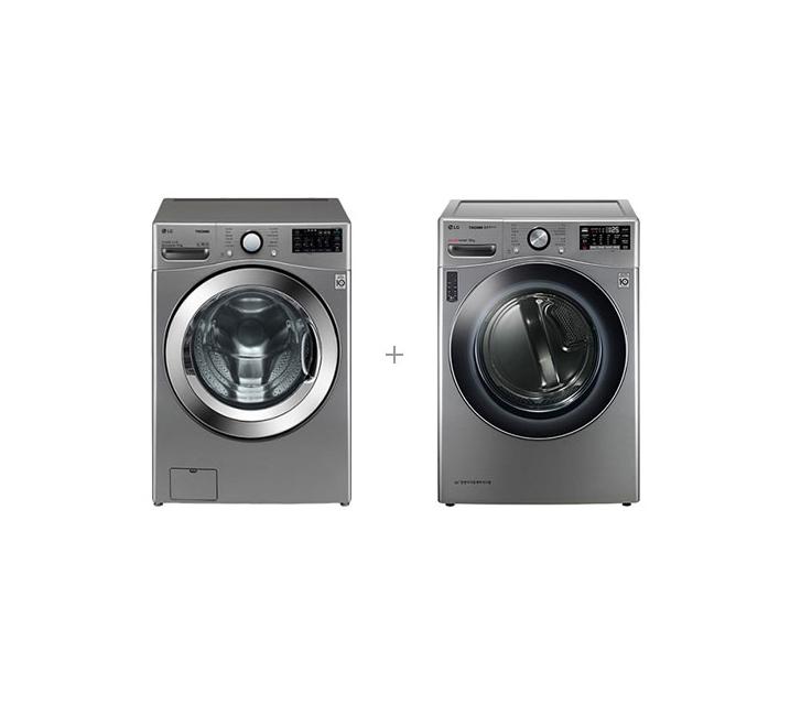 [S] LG 트롬 드럼세탁기 19kg+트롬 히트펌프 건조기 16kg 모던스테인리스 F19VDU+RH16VTN  / 월 79,500 원